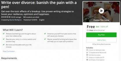 Udemy Coupon – Write over divorce: banish the pain with a pen!