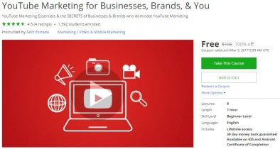 Udemy Coupon – YouTube Marketing for Businesses, Brands, & You