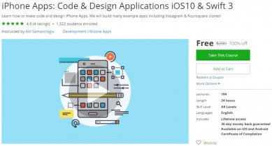 Udemy Coupon – iPhone Apps: Code & Design Applications iOS10 & Swift 3